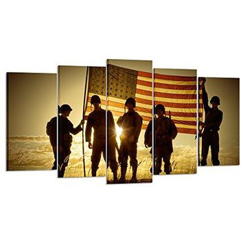 Kreative Arts - 5 Panels Silhouette of Soldiers with American Flag Canvas Painting Print Wall Art Vintage Armed Forces on Sunset Pictures Giclee Artwork for Wall Decoration (Medium Size 40x24inch)