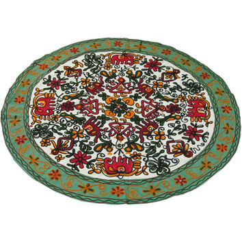 """33"""" Round Woolen Embroidered WALL HANGING TAPESTRY Runner Beautiful Indian Decor Ethnic Art"""