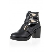 Black Chunky Heel Buckle Ankle Boots - Quiz Clothing
