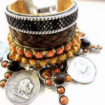 Hippie bracelet, bohemian hippie jewelry, leather bracelet cuff with silver chain, snake design with coins and crosses gypsy jewelry, ibiza