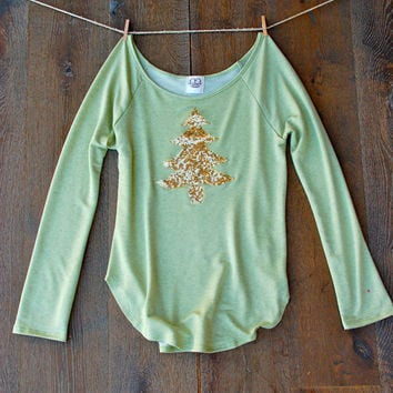 Gold Sequin Christmas Tree Patch Sage Off the Shoulder Slouchy Tunic - Holiday Sequin Shirt