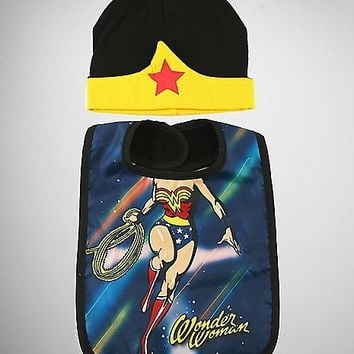 Wonder Woman Baby Hat & Bib Set - Spencer's