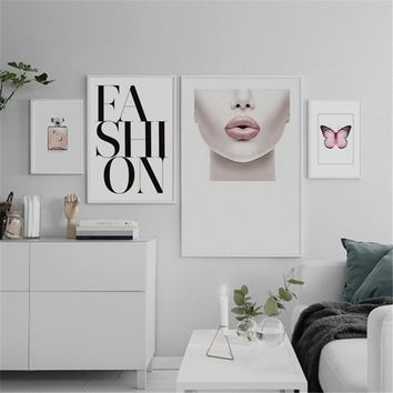 Nordic Modern FASHION PINK LIPS  Canvas Art Print Wall Painting/Poster/Pictures for Bedroom Living Room Wall Art Home Decor Fram