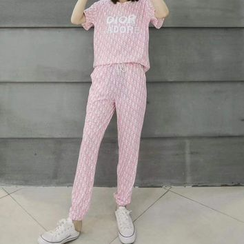 """""""DIOR""""Woman's Leisure  Fashion Letter  Drill Printing Stripe Short Sleeve Trousers Two-Piece Set Sportswear"""
