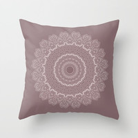 Decorative Throw Pillow - different sizes to Choose From, Square, Rectangular, Double-sided print, Indoors, Outdoors, Mandala, Mauve, Pink