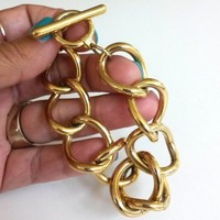 Vtg 1980s Monet Gold Tone Curb Link Toggle Clasp Bracelet Chunky Chain