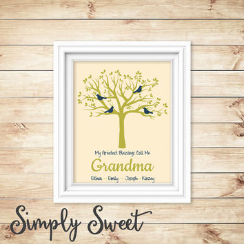 Gift for Mom - Custom Wall Art for Mom or Grandma - Family Tree Personalized - mom gift - mom print - grandma gift -  family tree