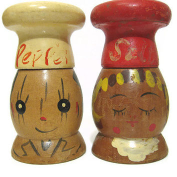 Vintage Wooden People Salt and Pepper Shaker Set