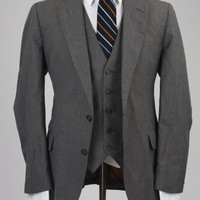 Vintage Gray Wool 3 Piece Vested Suit 40 R