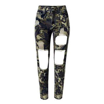 CREYCI7 Women Summer Camouflage Pants Casual Trousers For Ladies Ripped High Waist Drawstring Skinny Denim Calf Length Jeans