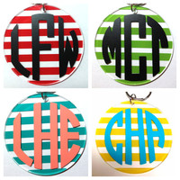 Stripe Keychain with Monogram - Lots of Colors and Monogram Styles - Bridesmaid Newlywed Teacher Big Little Sorority Sister Mom