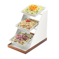 10W x 16.25D x 17H Luxe Three Bowl Display White Metal/Copper Base