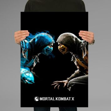 Poster Print Mortal Kombat X Sub Zero and Scorpion Wall Decor Canvas Print - halawatani.com