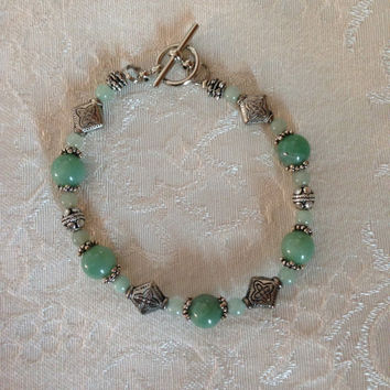 Handcrafted Shades of Green Bracelet with antique silver beads toggle clasp Semi Precious Green Aventurine Women Girls Jewelry Chic Boho