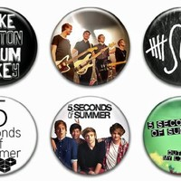 """Set of 6 New 5 Seconds of Summer 1.25"""" Pinback Button Badge Pin"""