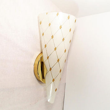 Retro glass slip shade light wall sconce lamp 60s mod vintage sconce