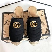 GUCCI Fashion New Weave Canvas High Quality Sports Leisure Slippers Shoes Black