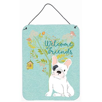 Welcome Friends Piebald French Bulldog Wall or Door Hanging Prints BB7634DS1216
