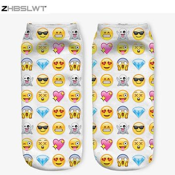 ZHBSLWT 21 Colors You can choose Lovely smiling face 3D Print Animal women Socks Casual cartoon Socks Unisex Low Cut Ankle Socks