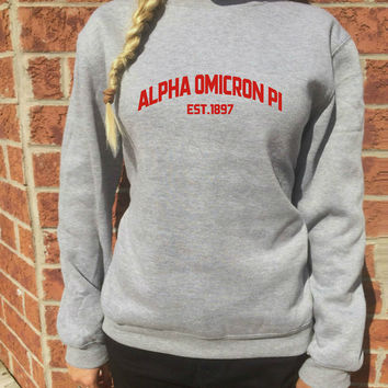 Alpha Omicron Pi Sweatshirt AOPi fraternity Greek Apparel Flannel sorority sweatshirt Choose Your Color CUSTOM sorority name!