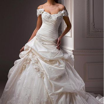[289.99] Elegant Exquisite Taffeta & Tulle A-line Sweetheart Wedding Dress - Dressilyme.com
