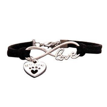 Best Friend Gifts For Women Men New Antique  Cute Pets Dog's Paw Heart Charm Infinity Love Bracelets Unique Dogs Store