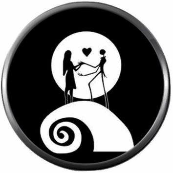 Jack And Sally With Heart On Spiral Hill Halloween Town Nightmare Before Christmas Jack Skellington 18MM - 20MM Charm for Snap Jewelry New Item