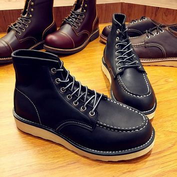 Yomior Fashion Genuine Leather Men's Boots Red Ankle Boots Man Outdoor Work Martin Cowboy Wing Motorcycle Lace-up Leather Shoes