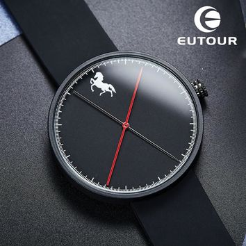 2017 Luxury Brand Eutour Fashion men Horse watch Business male watches silicone Clock Minimalist Simple quartz Wristwatches
