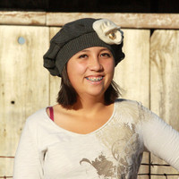 Ribbed Gray Cotton Upcycled Hat With Shabby Wool Flower