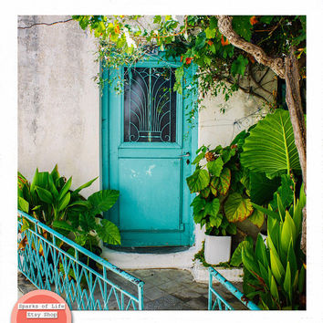 Greece print, Mediterranean decor, travel photography prints, door print, botanical art, square print, Europe photography, tropical leaves