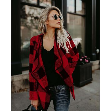 New 2018 Elegant Actumn Long Wool & Blends Coat Winter Women Slim Long Sleeve Casual Woolen Overcoat Trench Plaid Jackets Nz02