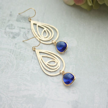 Cobalt Blue Swirl Filigree Drop Pendant  Capri Blue Glass Drop Earrings. Bridesmaid Gifts. Modern Earring Something Blue. Blue Gold Wedding