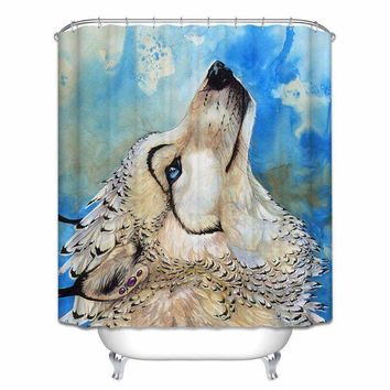 Shower Curtain Set Animal Art Polyester Fabric With Hooks