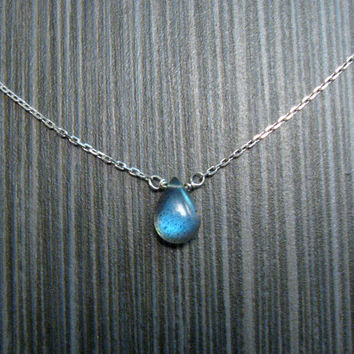 Labradorite Pendant Necklace - Very Flashy Blue Labradorite Dainty Layer Necklace - Electric Blue Layering Necklace