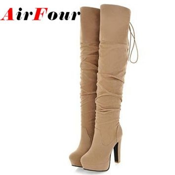 Airfour Big Size 43 High Over-the-Knee Boots for Women Flock Tassel Ladies Long Boots