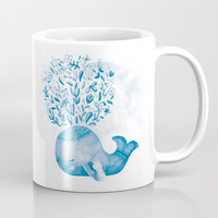 Cute Watercolor Whale Coffee Mug by noondaydesign