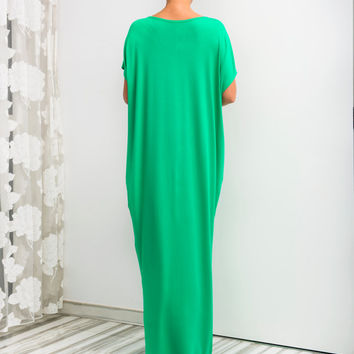 Green Maxi Dress, Caftan, Abaya, Summer Dress, Green Plus-Size Dress, Beach Dress, Beach Cover-Up