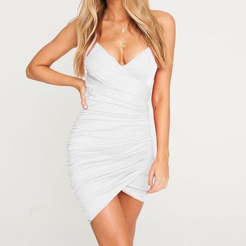 Summer Fashion Women Pure Color V Collar Sleeveless Backless Sling Dress White