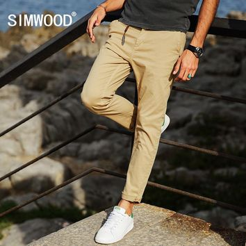 SIMWOOD 2017 AutumnNew Cotton Casual Pants Men Slim Fit Fashion Trousers Plus Size  Brand Clothing KX5543