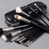12 pcs makeup brush set full size with faux leather case, MAC: Beauty