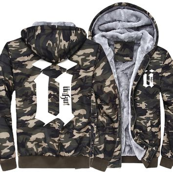 jackets men 2018 wool liner winter warm coats hipster zipper thicken Camouflage sleeve sweatshirts man's brand tracksuits M-5XL