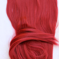 """24"""" Red Hair Extension, Red Hair, Cherry Red, One Piece Hair Extension, Thick Hair, Long Hair, Synthetic Hair, Costume, Hair Extension"""