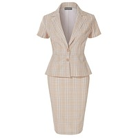 LE3NO Womens Classic Plaid Short Sleeve 2 Button Blazer and Midi Pencil Skirt Suit Set
