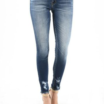 Frayed Hem Distressed Wash Skinny Denim