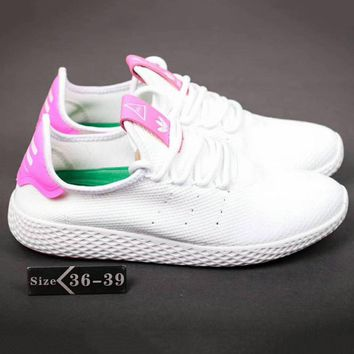 Adidas Pharrell Tennis HU Women Men Running Sport Casual Shoes Sneakers White-Pink G-SSRS-CJZX