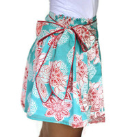Mini Skirt Aquamarine with red flower print and sash by LoNaDesign