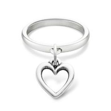 Smooth Dangle Ring with Open Wire Heart Charm | James Avery