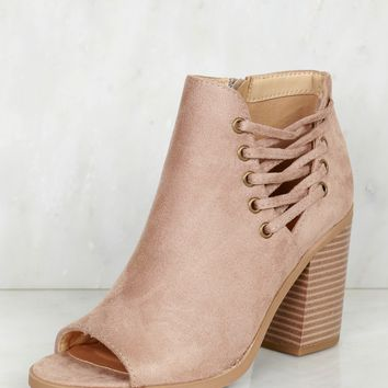 Lace Cut Out Bootie Taupe