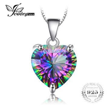 JewelryPalace 4.35ct Genuine Rainbow Fire Mystic Topaz Heart Pendant